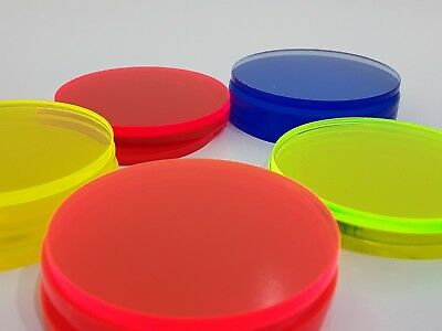 Laser Cut 3mm Flourescent Coloured Acrylic Circles Discs Colours 30mm to 60mm