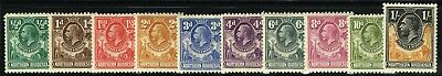 Sg 1-10 Northern Rhodesia 1925 Definatives – Short Set To 1/- Mounted Mint