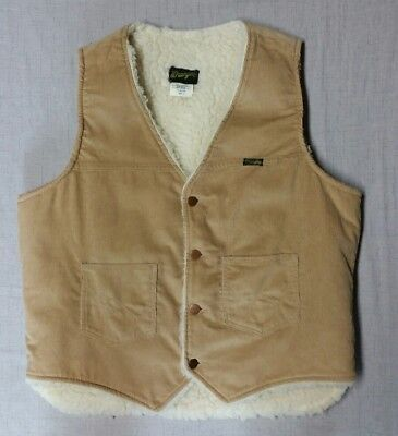 Vintage Men's WRANGLER Corduroy Sherpa fleece VEST size LARGE excellent!  USA