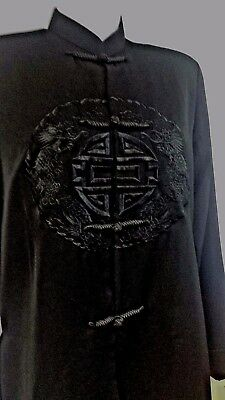 Traditional Ethnic Asian Jacket Black Dragon Embroidered Small NEW Polyester