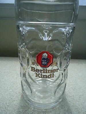1L Berliner Kindl Dimpled One Liter Glass Beer Mug Stein No Reserve