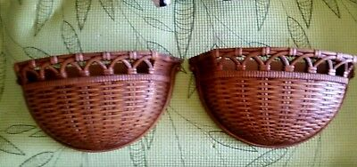 Homco Syroco~2-Woven Wicker RATTAN BASKETS~WALLPOCKETS~Vintage 1978~10 X 5.25
