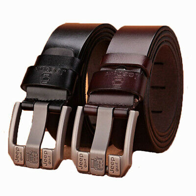 New Genuine Cow Leather Mens Belt Waistband Waist Strap Girdle Smooth Pin Buckle