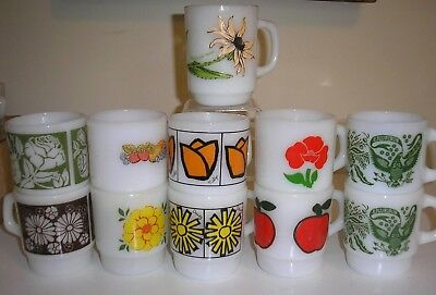 11 Hocking Fire King Fruit Flowers coffee MUGS CUPS