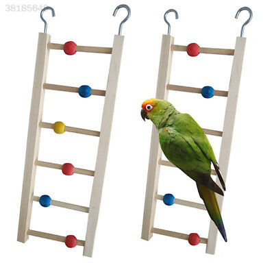 Wooden Ladder Stairs Hanging Bridge Toy for Hamster Mouse Parrot Bird Bead 83C6