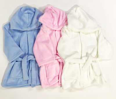 Girls Boys Baby Dressing Gown New Kids Unisex Plain Bath Robe Ages 6 - 24 Months