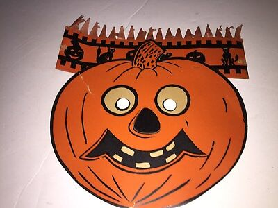 Honeycomb Halloween die cut Hat/Mask Pumpkin JOL head Beistle 1940s