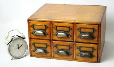 Antique 6 Drawer Index Storage Chest - FREE Shipping [PL4517]