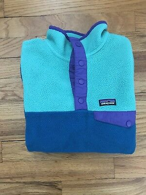 Kids Patagonia Snap-T Synchilla Pullover Fleece Size L Blue Green