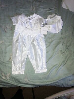 boy 9-12 month christening outfit, all white, new