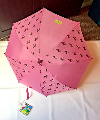 Western Chief Child Kid Tiny Horses Pony Umbrella Pink Brown Girl NEW with Tags