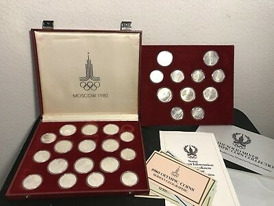 1980 Moscow Olympic 90% Silver Coins Set Of 28 In Box Rubles