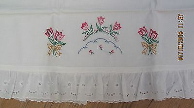 Vintage White Hand Embroidered Pillow Case Flowers
