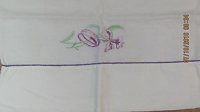 Vintage White Hand Embroidered Pillow Case Lavender Wedding Rings
