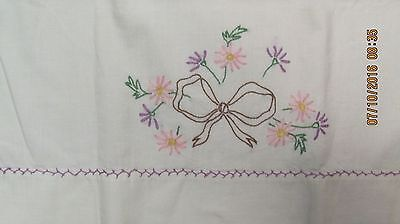 Vintage White Hand Embroidered Pillow Case Pink Flowers Brown Bow