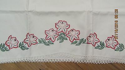 Vintage White Hand Embroidered Pillow Case Red Flowers