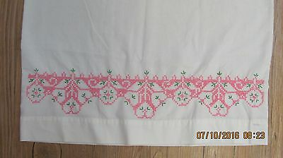 Vintage White Hand Embroidered Pillow Case Pink Flowers Chic & Shabby