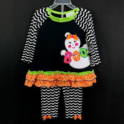 New Emily Rose Toddler Baby Girl Size 2T Black Halloween Boo Ghost Outfit Set
