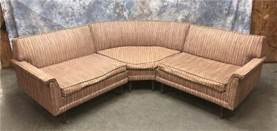 Kroehler Sectional Sofa, Mid Century Modern Couch, 3 Piece Retro Sofa Couch