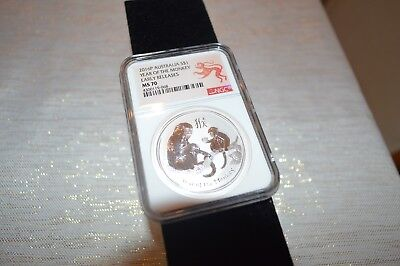 *2016-P 1 oz Australia Lunar Year of the Monkey 999 Silver $1 Coin NGC MS70 ER*