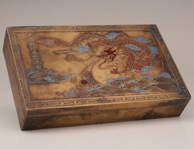 Great qing qianlong tea paste box brass old painting dragon sacred valuable