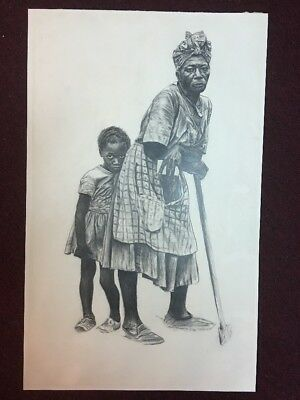 1982 AFRICAN AMERICAN LADY With Child PENCIL DRAWING SIGNED Sheri War Burton