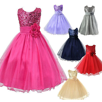 Kids Girls Bridesmaid Dress Sequin Flower Princess Wedding Party Prom Dresses