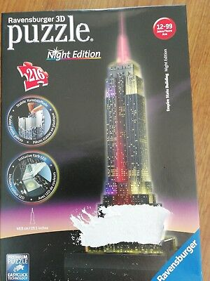 NEU OVP Ravensburger 3D-Puzzle Night Edition Empire State Building Puzzles & Geduldspiele