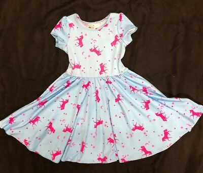 NEW  dot dot smile Girls Cup Twirl Pink & Blue Unicorn Summer dress Girls