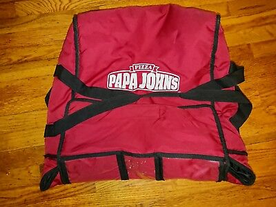 Papa Johns Pizza Insulated Hot Pizza Delivery Large Bag Red Carrying Case Tote