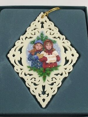 Lenox Yuletide collection Victorian Lace Caroling Carolers Boy girl Ornament
