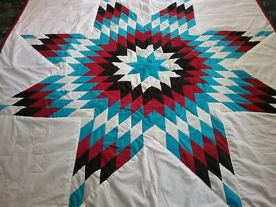 Beautiful authentic Native American Lakota star Quilt White FREE SHIPPING!