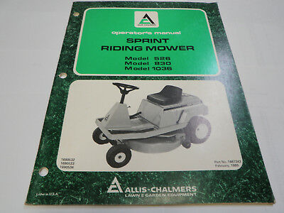Allis Chalmers Sprit Mower Operator's Manual