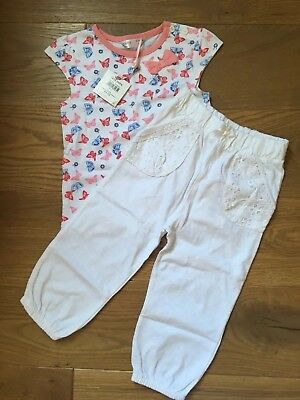 New With Tags Summer Bundle Girls 12-18 M&co trousers short sleeve top