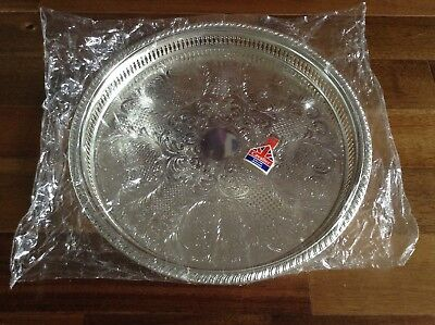 Vintage New Cavalier Silver Plated 14 3/4 Inch Round Gallery Tray NOS