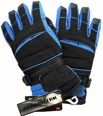 Athletic Works Boy's Gloves 3M Thinsulate Waterproof BLACK & BLUE ~ Size (16-18)