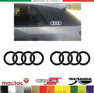 2 ADESIVI AUDI Q2 ANELLI RING mm.133x46 ORIGINAL SIZE STICKERS DECAL AUFKLEBER
