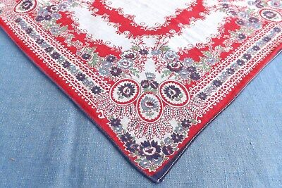 Vintage Handkerchief Bandanna Pattern Red White & Blue Floral