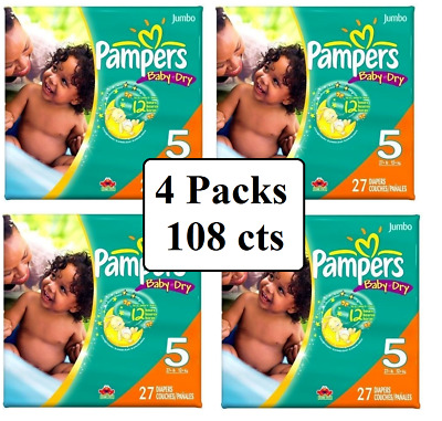 **UNOPENED/SEALED** Pampers Baby Dry Diapers Size 5, 27 Counts