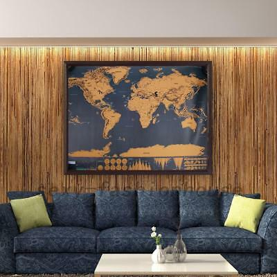 Scratch Off World Map Learn Deluxe Large Travel Wall Poster Home 82 x59 Cm AU
