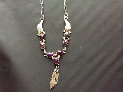 Vintage Sterling Silver Feather Necklace With Purple Cabochon Stones