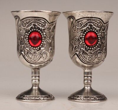 2 Vintage Chinese Tibetan silver wine cup goblet inlay ruby old collection