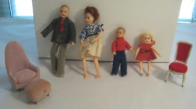 Lot Vintage Ideal Petite Princess Dollhouse Doll Family Figures Furniture Chair