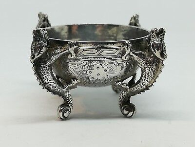 Antique Chinese Silver Open Salt Pot Cellar Snuff - Dragons - Stamped