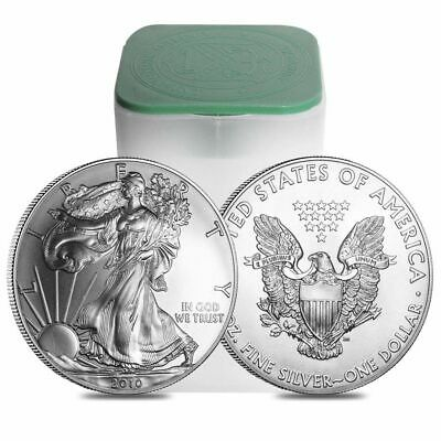 1x 2010 Mint Tube Roll of 20 .999 1 oz BU Silver American Eagle Coins