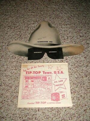 1946 Lot of TIP-TOP BREAD Premiums-Tennessee Jed Radio Show Hat & Jig-Saw Puzzle