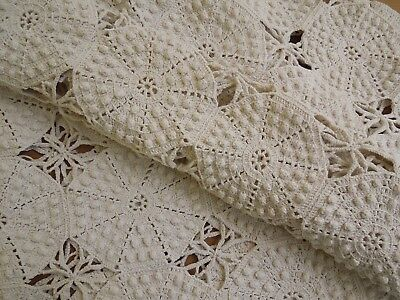 "Antique dimensional Hobnail Crochet French country 85x25"" Ecru Tablecloth/runner"
