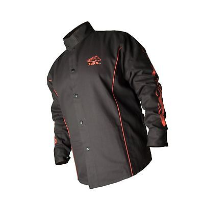 BLACK STALLION BSX FR Welding Jacket - Black w/Red Flames - MEDIUM - NO TAX