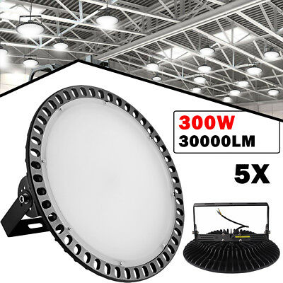 5x 300W UFO LED High Bay Light 30000LM Commercial Warehouse Gym Slim Lighting