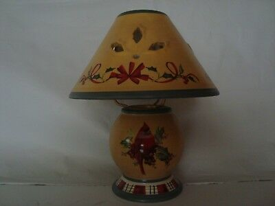 LENOX WINTER GREETINGS EVERYDAY Candle Tea Light Votive Lamp w/ Shade Cardinal